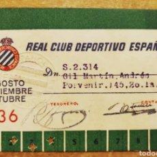 Coleccionismo deportivo: CARNET SOCIO TRIMESTRAL RCD ESPAÑOL 1936. Lote 235684320