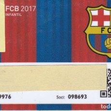 Coleccionismo deportivo: CARNET DE SOCIO DE FUTBOL CLUB BARCELONA TEMPORADA 2017 INFANTIL -BARÇA (CAIXA-NIKE-ESTRELLA-AUDI-. Lote 236038425