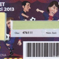 Coleccionismo deportivo: CARNET DE SOCIO DE FUTBOL CLUB BARCELONA TEMPORADA 2013 INFANTIL (RARO). Lote 236038660