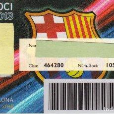 Coleccionismo deportivo: CARNET DE SOCIO DE FUTBOL CLUB BARCELONA TEMPORADA 2013 SENIOR - BARÇA (CAIXA-NIKE-AUDI. Lote 236038900