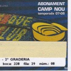 Coleccionismo deportivo: CARNET DE SOCIO DE FUTBOL CLUB BARCELONA TEMPORADA 2007/08 LATERAL 2ª GRADERIA (CAIXA-COCA-COLA-NIKE. Lote 236040555