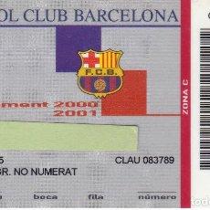 Coleccionismo deportivo: CARNET DE SOCIO DE FUTBOL CLUB BARCELONA TEMPORADA 2000/01 LATERAL 3ª GRADERIA ZONA C NO NUMERAT. Lote 236041650
