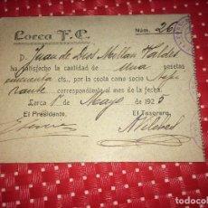 Collezionismo sportivo: LORCA FOOT-BALL CLUB - AÑO 1925 - CARNET DE SOCIO - UNA PESETA. Lote 242105050