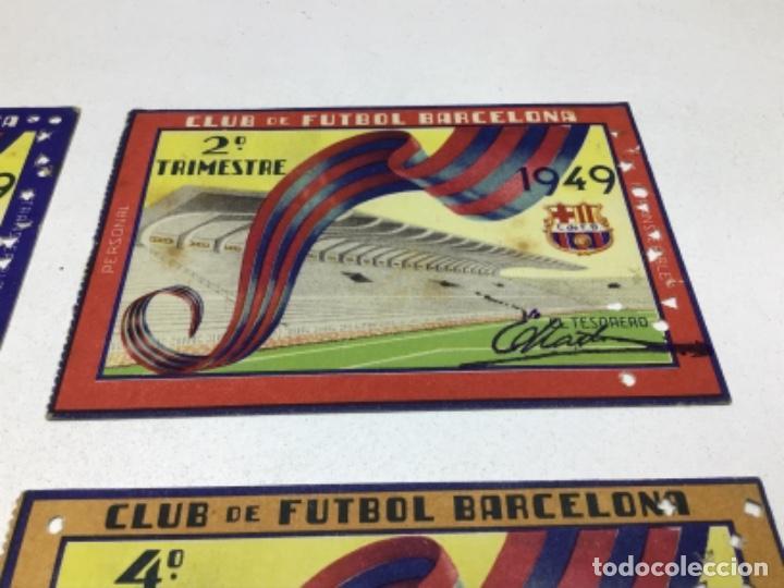 Coleccionismo deportivo: CARNET DE SOCIO F.C. BARCELONA - 4 TRIMESTRES AÑO 1949 - COMPLETO - Foto 3 - 243849000