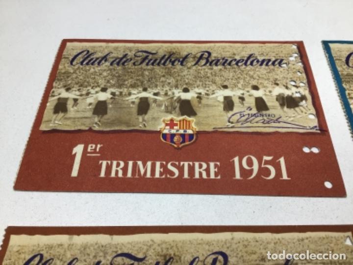 Coleccionismo deportivo: CARNET DE SOCIO F.C. BARCELONA - 4 TRIMESTRES AÑO 1951 - COMPLETO - Foto 2 - 243849465