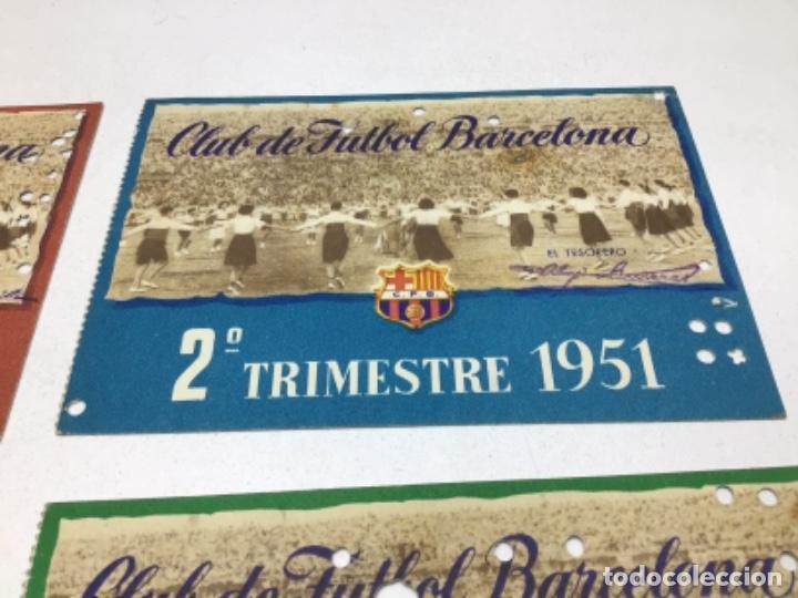 Coleccionismo deportivo: CARNET DE SOCIO F.C. BARCELONA - 4 TRIMESTRES AÑO 1951 - COMPLETO - Foto 3 - 243849465