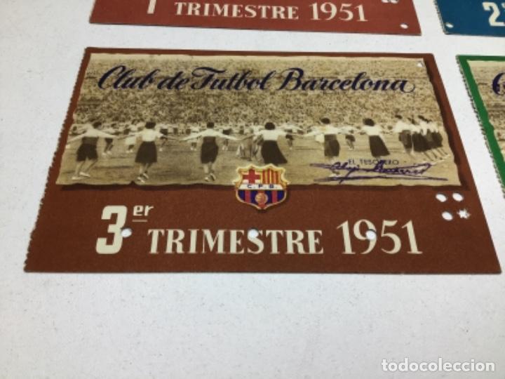 Coleccionismo deportivo: CARNET DE SOCIO F.C. BARCELONA - 4 TRIMESTRES AÑO 1951 - COMPLETO - Foto 4 - 243849465