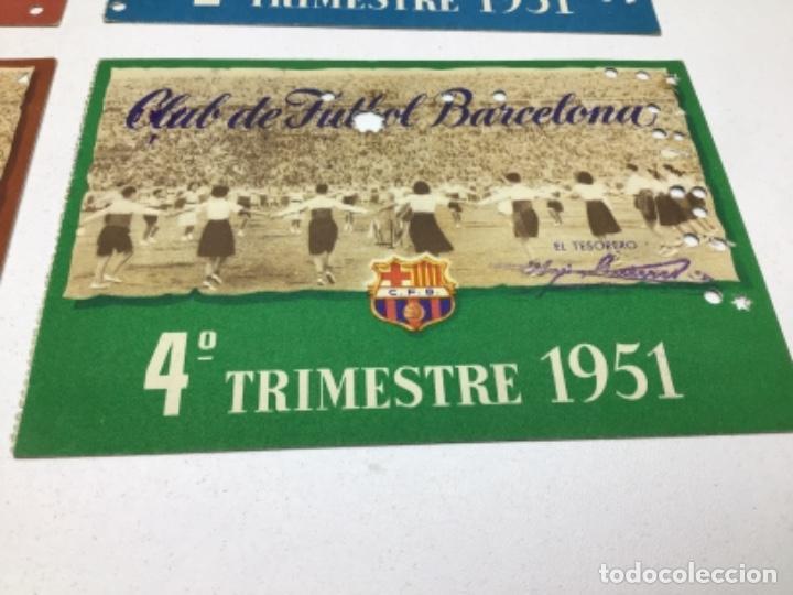 Coleccionismo deportivo: CARNET DE SOCIO F.C. BARCELONA - 4 TRIMESTRES AÑO 1951 - COMPLETO - Foto 5 - 243849465