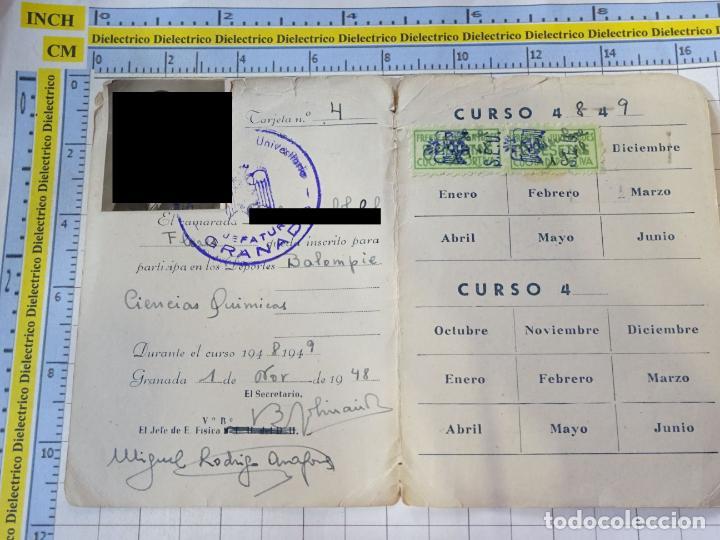 Coleccionismo deportivo: ANTIGUO CARNET DEPORTIVO DEL SINDICATO ESPAÑOL UNIVERSITARIO SEU GRANADA FÚTBOL 1948 1949. - Foto 2 - 244730905