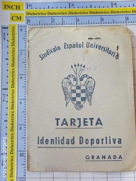 ANTIGUO CARNET DEPORTIVO DEL SINDICATO ESPAÑOL UNIVERSITARIO SEU GRANADA FÚTBOL 1948 1949. (Coleccionismo Deportivo - Documentos de Deportes - Carnet de Socios)