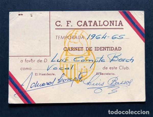 CARNET SOCIO / C.F. CATALONIA TEMPORADA 1964 - 1965 / FUTBOL / BARCELONA (Coleccionismo Deportivo - Documentos de Deportes - Carnet de Socios)