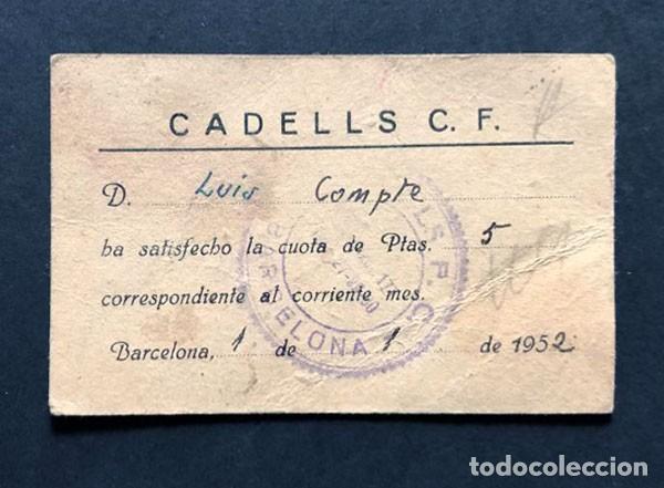 CARNET FUTBOL / CADELLS C. F. / BARCELONA AÑO 1952 (Coleccionismo Deportivo - Documentos de Deportes - Carnet de Socios)
