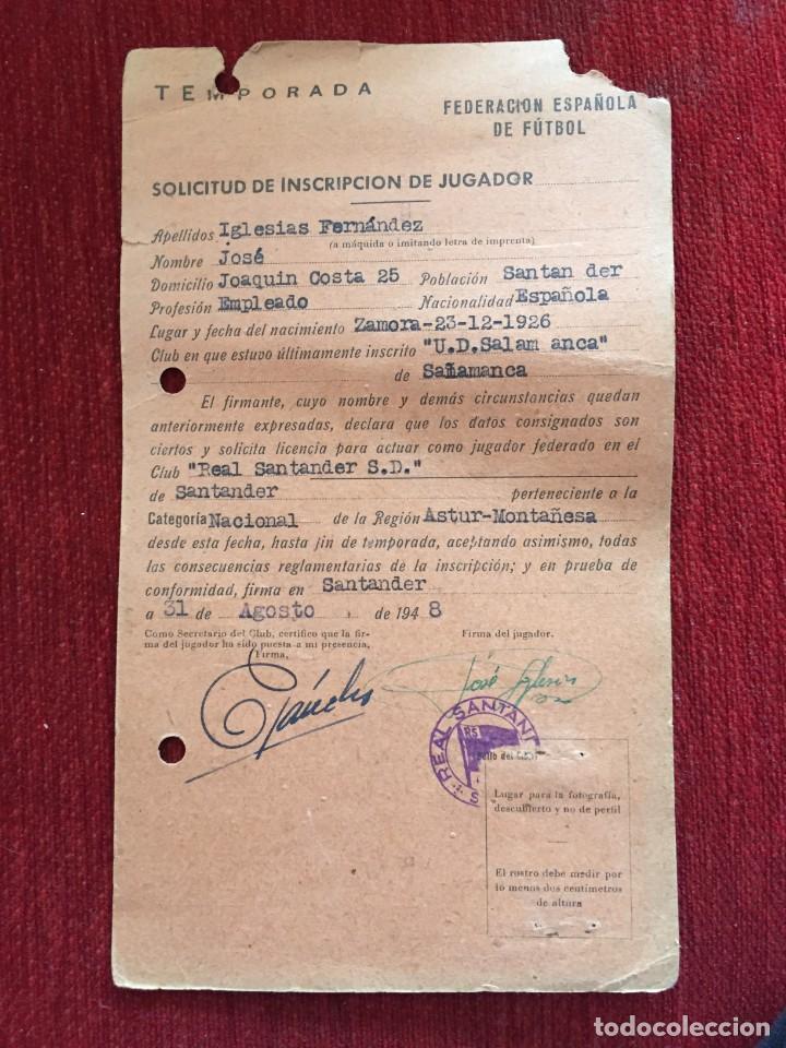 R12592 ANTIGUA FICHA JUGADOR JOSE IGLESIAS FERNANDEZ RACING SANTANDER 1948 (Coleccionismo Deportivo - Documentos de Deportes - Carnet de Socios)