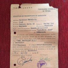 Coleccionismo deportivo: R12592 ANTIGUA FICHA JUGADOR JOSE IGLESIAS FERNANDEZ RACING SANTANDER 1948. Lote 245405905