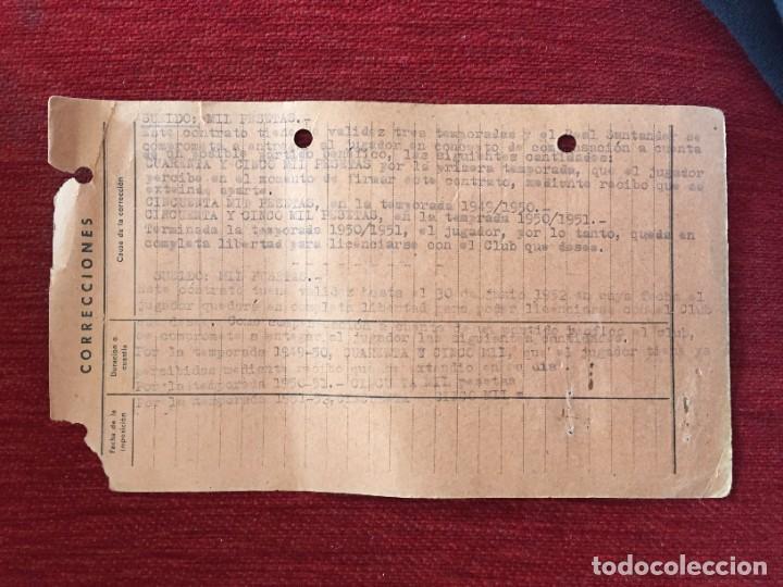 Coleccionismo deportivo: R12592 ANTIGUA FICHA JUGADOR JOSE IGLESIAS FERNANDEZ RACING SANTANDER 1948 - Foto 2 - 245405905