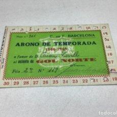 Coleccionismo deportivo: CARNET ABONO DE TEMPORADA 1944-1945 - GOL NORTE - F.C. BARCELONA. Lote 245570100