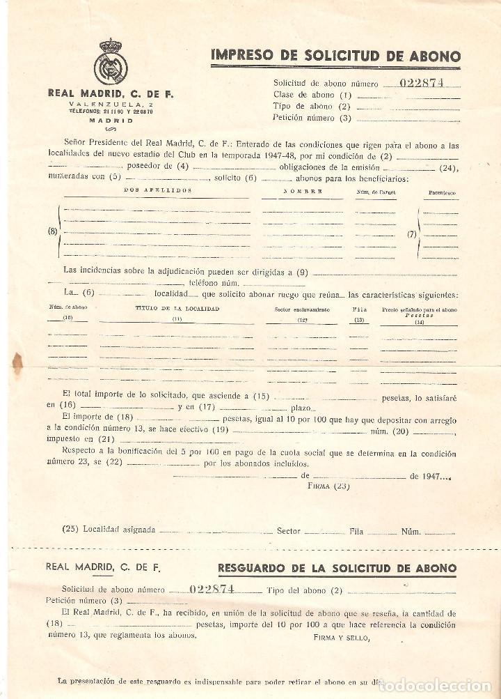 REAL MADRID 1962 SOLICITUD DE ABONO SOCIOS Y CIRCULAR CON PRECIOS DE LOS MISMOS. (Coleccionismo Deportivo - Documentos de Deportes - Carnet de Socios)