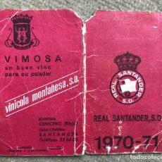 Coleccionismo deportivo: CARNET DEL REAL SANTANDER, S.D. (RACING CLUB DE FÚTBOL) - TEMPORADA 1970 - 1971. Lote 253167615