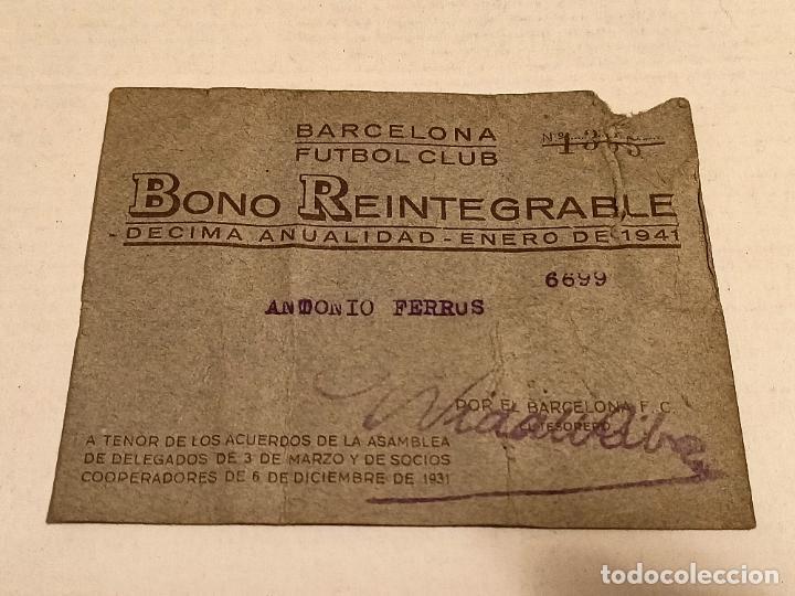 BONO 1941 CLUB DE FÚTBOL BARCELONA (Coleccionismo Deportivo - Documentos de Deportes - Carnet de Socios)