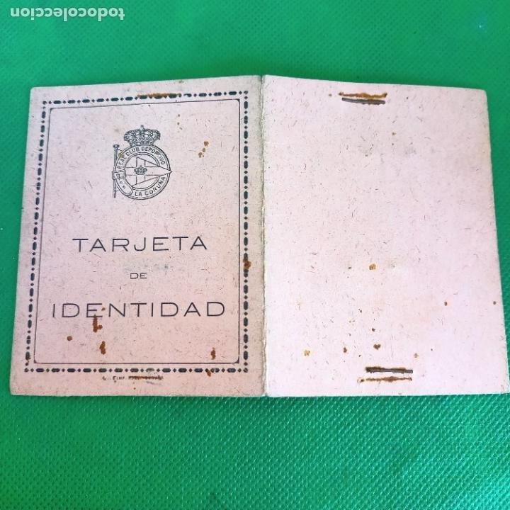 Coleccionismo deportivo: Tarjeta de identidad carnet de socio 1950 real club deportivo de la Coruña - Foto 2 - 255451205