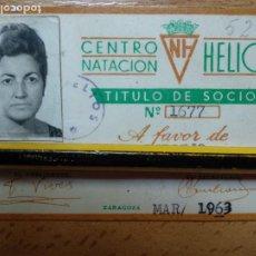 Collectionnisme sportif: CARNET 1963 C.N. HELIOS, CENTRO DE NATACIÓN. ZARAGOZA.. Lote 256057530