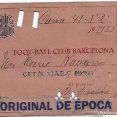 Coleccionismo deportivo: (F-210435)CARNET CUPO MARÇ F.C.BARCELONA FOOTBALL EPOCA DE ZAMORA,ALCANTARA,SAMITIER,ETC.. Lote 259305590