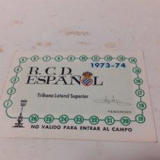 Coleccionismo deportivo: CARNET SOCIO RCD ESPAÑOL 1973 74. Lote 259892305