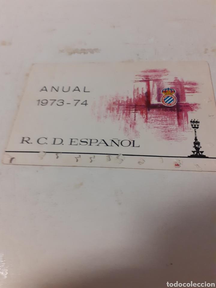 CARNET SOCIO RCD ESPAÑOL 1973 74 (Coleccionismo Deportivo - Documentos de Deportes - Carnet de Socios)