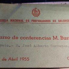 Coleccionismo deportivo: CARNET DE LA ESCUELA NACIONAL DE PREPARADORES DE BALONCESTO OYENTE D. JOSE ALBERTO HERRERAS AÑO 1955. Lote 260767860