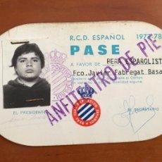 Coleccionismo deportivo: REAL CLUB DEPORTIVO ESPAÑOL ESPANYOL CARNET SOCIO PASE 1977 78 ANFITEATRO DE PIE. Lote 260772235