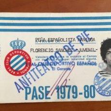 Coleccionismo deportivo: REAL CLUB DEPORTIVO ESPAÑOL ESPANYOL CARNET SOCIO 1979 80 ANFITEATRO DE PIE. Lote 260772285