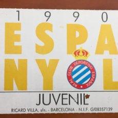 Coleccionismo deportivo: REAL CLUB DEPORTIVO ESPAÑOL ESPANYOL CARNET SOCIO 1990 ABONO ANUAL JUVENIL. Lote 260796460
