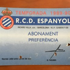 Coleccionismo deportivo: REAL CLUB DEPORTIVO ESPAÑOL ESPANYOL CARNET SOCIO 1989 90 ABONO ANUAL. Lote 260796540