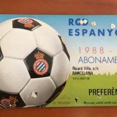 Coleccionismo deportivo: REAL CLUB DEPORTIVO ESPAÑOL ESPANYOL CARNET SOCIO 1988 89 ABONO ANUAL. Lote 260796920