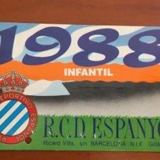 Coleccionismo deportivo: REAL CLUB DEPORTIVO ESPAÑOL ESPANYOL CARNET SOCIO 1988 ABONO ANUAL INFANTIL. Lote 260796960