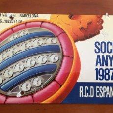 Coleccionismo deportivo: REAL CLUB DEPORTIVO ESPAÑOL ESPANYOL CARNET SOCIO 1987 ABONO ANUAL. Lote 260797215
