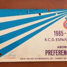 Coleccionismo deportivo: REAL CLUB DEPORTIVO ESPAÑOL ESPANYOL CARNET SOCIO 1985 86 ABONO ANUAL. Lote 260797295