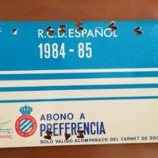 Coleccionismo deportivo: REAL CLUB DEPORTIVO ESPAÑOL ESPANYOL CARNET SOCIO 1984 85 ABONO ANUAL. Lote 260797595