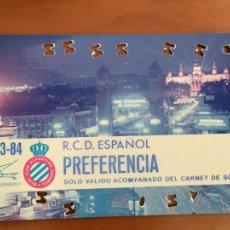 Coleccionismo deportivo: REAL CLUB DEPORTIVO ESPAÑOL ESPANYOL CARNET SOCIO 1983 84 ABONO ANUAL. Lote 260798435