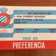 Coleccionismo deportivo: REAL CLUB DEPORTIVO ESPAÑOL ESPANYOL CARNET SOCIO 1982 83 ABONO ANUAL. Lote 260798525