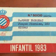Coleccionismo deportivo: REAL CLUB DEPORTIVO ESPAÑOL ESPANYOL CARNET SOCIO 1983 ABONO ANUAL INFANTIL. Lote 260798540