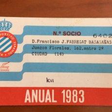 Coleccionismo deportivo: REAL CLUB DEPORTIVO ESPAÑOL ESPANYOL CARNET SOCIO 1983 ABONO ANUAL. Lote 260798595