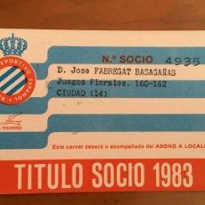 Coleccionismo deportivo: REAL CLUB DEPORTIVO ESPAÑOL ESPANYOL CARNET SOCIO 1983. Lote 260798615