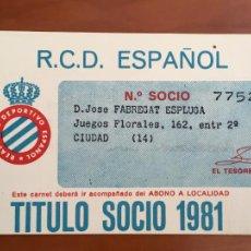 Coleccionismo deportivo: REAL CLUB DEPORTIVO ESPAÑOL ESPANYOL CARNET SOCIO 1981. Lote 260798635