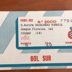 Coleccionismo deportivo: REAL CLUB DEPORTIVO ESPAÑOL ESPANYOL CARNET SOCIO 1981 82 ABONO ANUAL. Lote 260798730