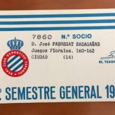 Coleccionismo deportivo: REAL CLUB DEPORTIVO ESPAÑOL ESPANYOL CARNET SOCIO 1979 ABONO ANUAL. Lote 260798770