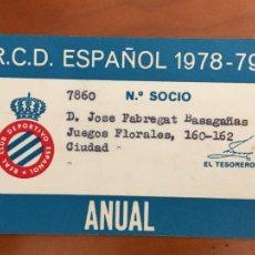 Coleccionismo deportivo: REAL CLUB DEPORTIVO ESPAÑOL ESPANYOL CARNET SOCIO 1978 79 ABONO ANUAL. Lote 260798805