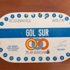 Coleccionismo deportivo: REAL CLUB DEPORTIVO ESPAÑOL ESPANYOL CARNET SOCIO 1975 76 ABONO ANUAL 75 ANIVERSARIO. Lote 260799035