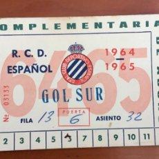 Coleccionismo deportivo: REAL CLUB DEPORTIVO ESPAÑOL ESPANYOL CARNET SOCIO 1964 65 ABONO ANUAL. Lote 260799235