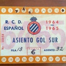 Coleccionismo deportivo: REAL CLUB DEPORTIVO ESPAÑOL ESPANYOL CARNET SOCIO 1964 65 ABONO ANUAL. Lote 260799265